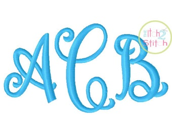 "Curtsy Machine Embroidery EXCLUSIVE Monogram Font. Sizes 1.0"",1.5"", 2.0"", 2.5"" and 3.0"". INSTANT DOWNLOAD now available."