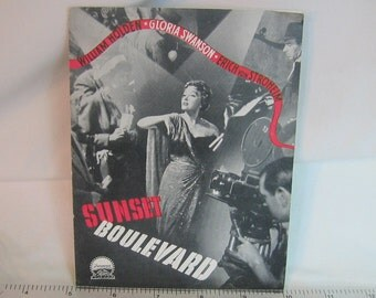 Vintage SUNSET BOULEVARD Danish Cinema Film Movie Program Original Denmark 1950 brochure Norma Desmond RARE Kitsch