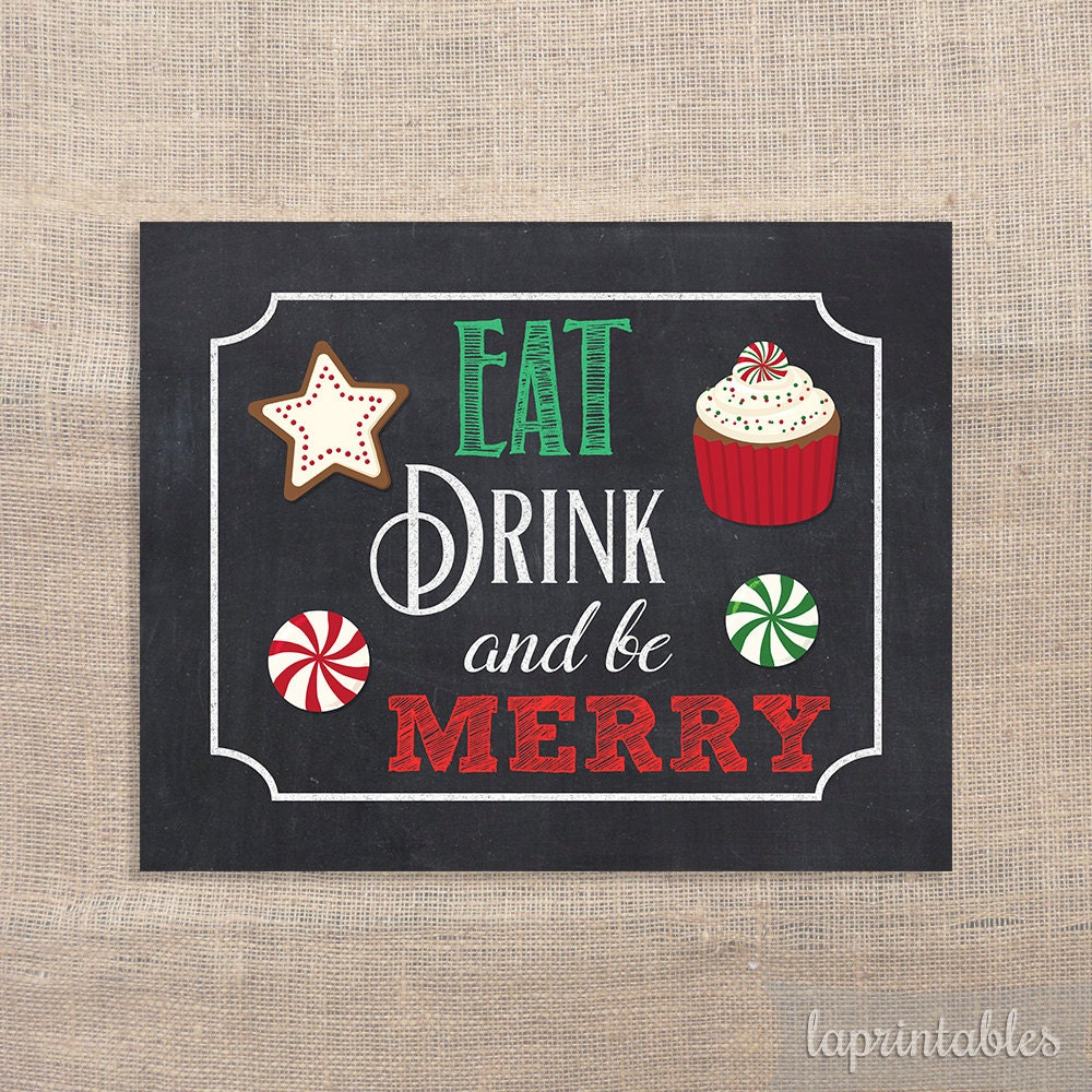 eat drink and be merry sign christmas art print chalkboard