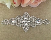 Rhinestone Applique- Bridal Applique - Wedding Applique - Rhinestone Wedding Applique