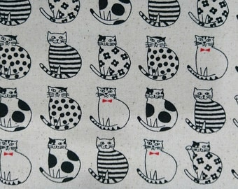 "Dressed cat - 1 yard - cotton linen - 3 colors - ,cat fabric ,Check out with code ""5YEAR"" to save 20% off"