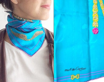 SALE - Authentic Vintage Cartier Scarf / Silk Turquoise scarf / Made in France / statement accesory / gift for wife