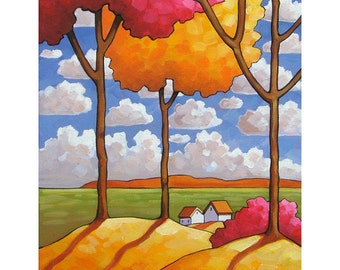 8x11 Art Print Deep Blue Sky White Clouds & Cottages, Colorful Fall Trees, Modern Folk Art Summer Rural Landscape, Artwork by Cathy Horvath