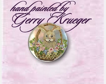 Hand painted MOP  Button - Basket of Bunny