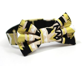 Dog Bowtie, Bow tie Dog Collar- Gold, Tan, White and Black Tribal Print
