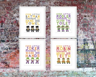 Even Little Batman Remember... | Bathroom Rules | Bathroom Art | Wall Art | Subway Art | Home Decor | 5x7 | 8x10 | 11x14