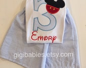 Little boys mickey mouse birthday tshirt and matching shorts by Gigibabies, outfit