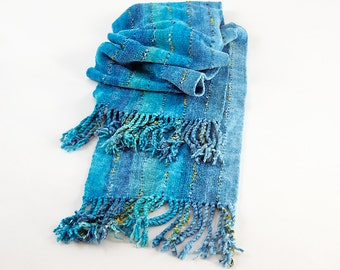 Turquoise Rayon Chenille Scarf