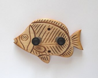 Unique hand carved ukulele wall mount hanger, holder, trigger fish