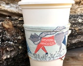 Fox and Sweater Coffee Cozy Reversible  Cup Cozy Smoothie To Go Cup Stocking Stuffer Gift