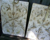 Vintage Ornate French Parisian Set of Decorative Wall Art  in Gold Green Ivory with Brass Chains