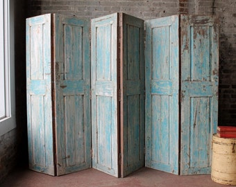 6 Panel Screen Room Divider Vintage Indian Salvaged Doors Wood Headboard Distressed Blue Boho Industrial Farm Chic Import Furniture
