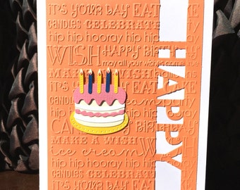 Handmade Birthday Card Embossed and Crafted Orange