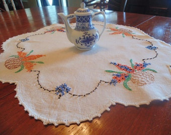 Stunning Linen Hand Embroidered and Hand Crocheted Runner, Orange and Blue Flowers
