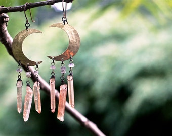 ON SALE!!!  Crescent Moon Crystal Earrings in Tangerine Quartz
