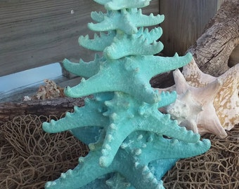 Glittery Ombre Starfish Tree/ Blue Spruce of the Sea/ Pale Pool Aqua Ombre/ Coastal Christmas Decor/ Beach Nautical Holiday Decor/ Ocean