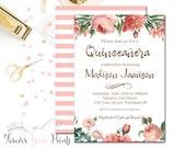 Quinceañera Birthday Invitation, Floral Birthday Invitation, Girls 15th Birthday Invite, Glam Birthday, Printed Invitation, Coral, Chic
