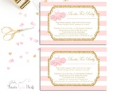 Pink and Gold Book Request Insert Cards, Baby Shower Insert Cards, Baby Shower Invitation Enclosures, Tutu Baby Shower, Bring A Book Card