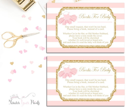 pink and gold book request insert cards, baby shower insert cards, Baby shower invitations