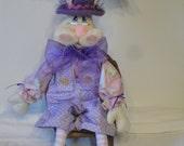 Primitive Rabbit Bunny Male Cloth art doll in purple pink