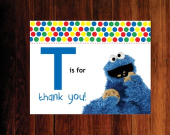 Cookie Monster Thank You Cards - set of 12