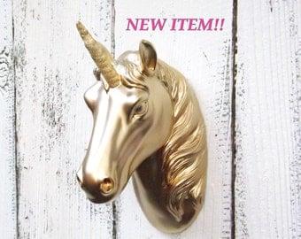 GOLD Unicorn with Gold Horn~Unicorn Wall Hanging~Faux Unicorn