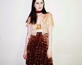 90s brown crushed velvet skirt size small