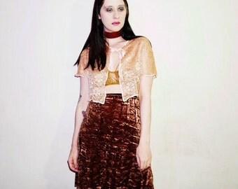 90s brown crushed velvet skirt size small