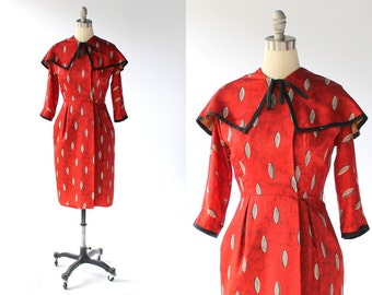 1940s R&K Originals Wiggle Dress // Vintage Red and Black Printed Taffeta Dress // Medium