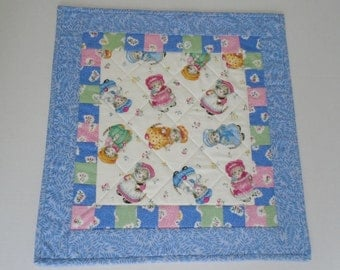 Kitty Quilted Table Topper in Blue, Quilted Table Runner, Patchwork Cottage Chic Table Quilt, Retro Kitties, Cat Lover Quilted Centerpiece