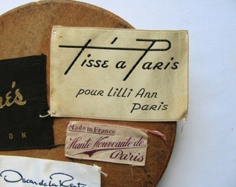 Vintage Clothing Tags Labels Tisse a Paris Filene's Haute Nouveaute Paris de la Renta Designer Brand Clothes Tag Fabric Supplies Altered Art