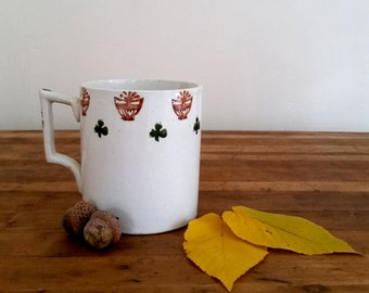 Vintage sponge ware mug, Irish sponge ware mug, brown and green shamrock sponge ware mug.