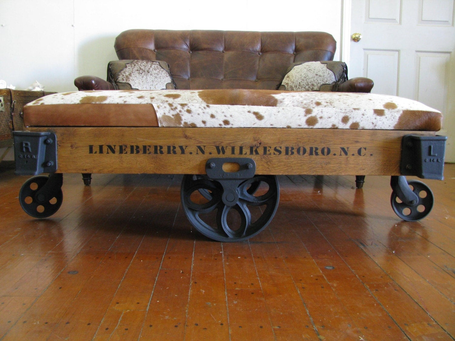 Repurposed Authentic Original Lineberry Industrial Railroad Factory Cart Bench Cocktail Table