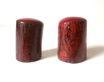 Pair Vintage Natural Wood Salt and Pepper Shakers ... Tree Bark Housewares, Turned Wood, Chunky, Retro Cabin Kitchenware, Table Top Wooden