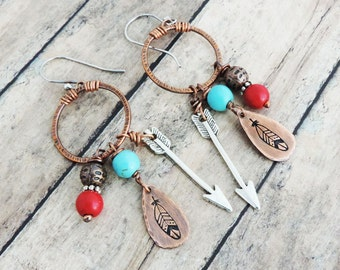 Southwestern Feather Earrings - Turquoise and Red Earrings - Copper Hoops - Arrows