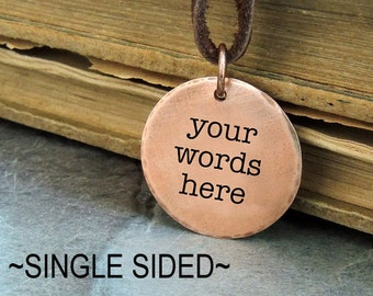 Custom Pendant, Personalized Necklace, Your Words,  Custom Words, Simple Copper Pendant Necklace, Quote Necklace