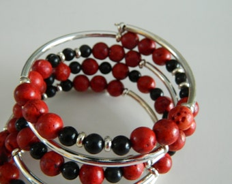 Bohemian Style Wrap Bracelets Red Sponge Coral and Onyx Beaded Bracelet