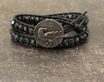 Bohemian Crow Jewelry Silver Bronze Sage Green Black Crow Bracelet