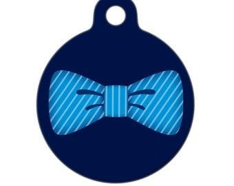 Pet ID Tag - Blue Bowtie Pet Tag, Dog Tag, Cat Tag, Bag Tag, Child ID Tag