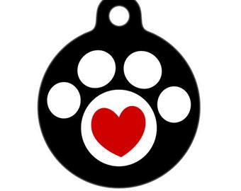 Pet Tag - Heart in Paw Pet Tag, Dog Tag, Cat Tag