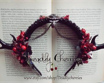"""Elegant """"Crimson Bloom"""" Mori  Goth deer horns antler  flower headband"""