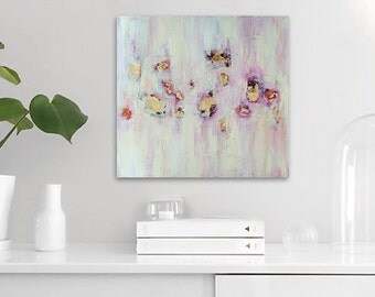 "12""x12"" Original Abstract Painting - Contemporary Wall Art Decor - pink yellow - gold leaf - texture"