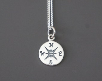Compass Necklace, Sterling Silver, Traveler's Gift, Daughter Gift, Birthday Gift