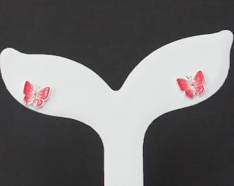 Sterling Silver Butterfly Earrings, Pink Butterfly Earrings, Stud Earrings, Enamel Jewelry, Birthday Gift, Kids Jewelry, Kids Earrings