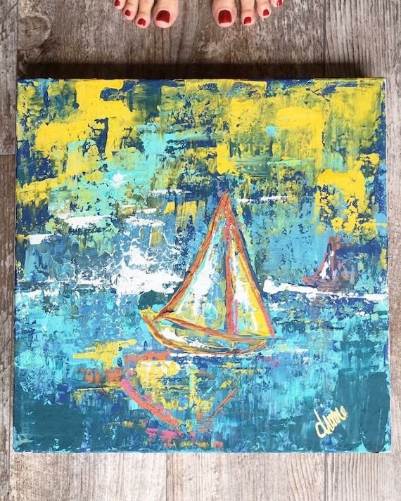 "The Sail - a 16"" x 16"" Original by The Turquoise Iris"