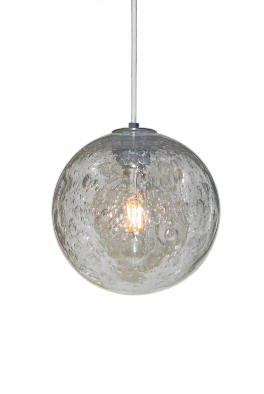 8 Led Hand Blown Seeded Glass Pendant Globe