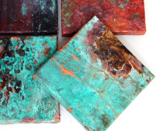 Copper Metal Tiles Rustic Aged Cottage Walls Flooring Textured Metal Aged Verdigris Copper Real Copper Artisan Craft Antique Old Tin Tile