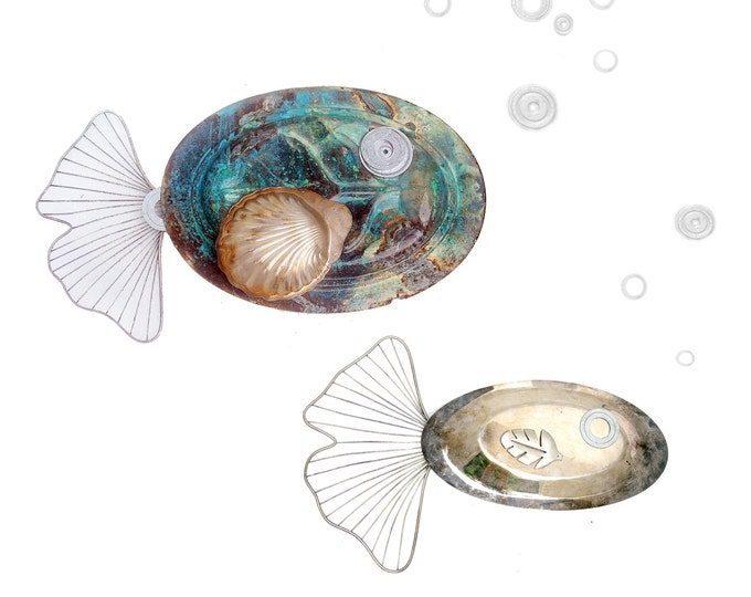 School Of Fish Teacher Gift, Pair Of Plated Platter Wall Fish Dining Area Art Upcycled Antique Dinnerware Collectible Trays Plates Bar Ware