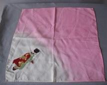 Vintage  Silk Japanese Lady Handkerchief - 1950s Geisha Girl Hanky Scarf