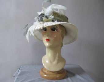 Victorian White Large Straw Hat - Edwardian Gold Silver Feathers Ascot Hat - Wedding - Tea Party - Kentucky Derby Hat